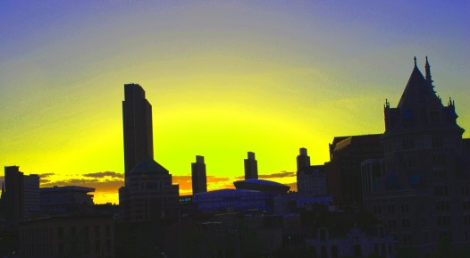Albany NY Skyline in yellow - DJ Kenny Casanova