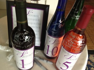 Wine bottle wedding guestbook in Altamont ny