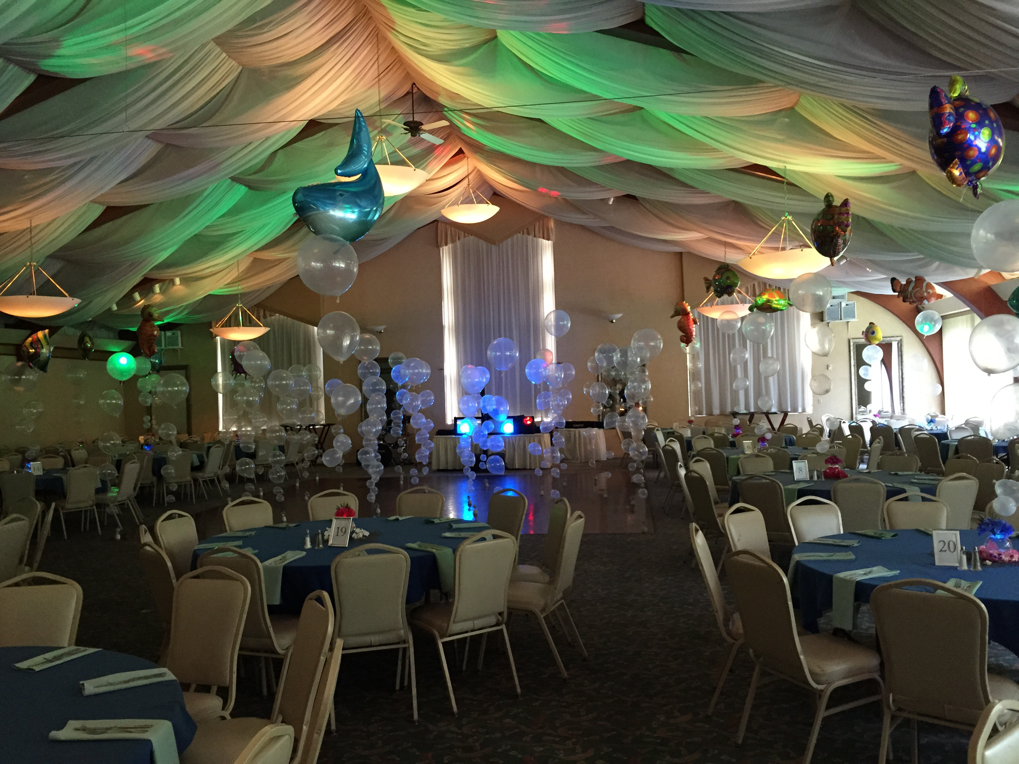 Under the sea party theme albany wedding dj sweet 16 dj for Dining hall decoration
