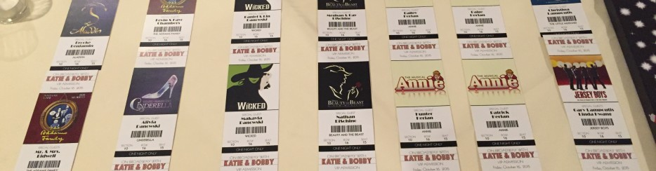 Seating Placecards for Broadway Theme Wedding